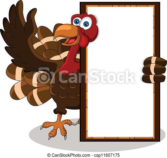 Dibujos de pavo con tabla en blanco - csp11607175
