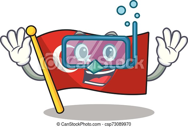 Pavo de bandera clavado en la caricatura - csp73089970