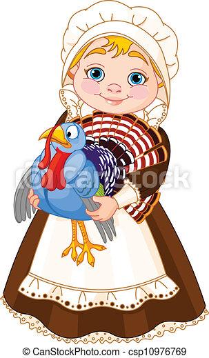 Una dama peregrino con pavo - csp10976769