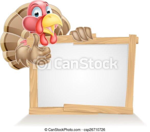 Feliz señal de pavo de dibujos animados - csp26710726