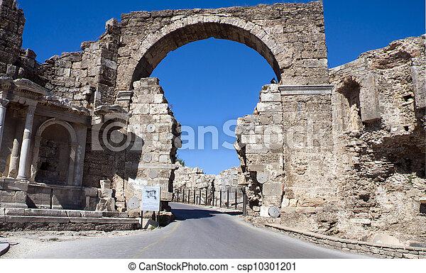 ruinas griegas, lado, pavo - csp10301201