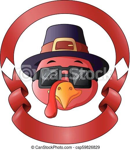 Feliz pavo de Acción de Gracias con marco de cinta roja - csp59826829
