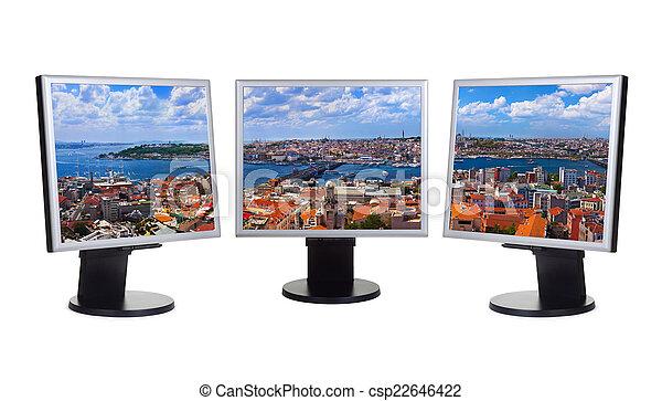 El panorama de Estambul Turquía en pantallas de ordenador - csp22646422