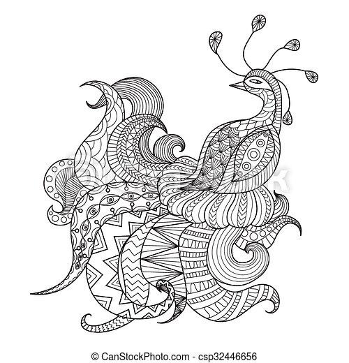 Pavo Real Diseño Artístico Para Colorear Libros Para