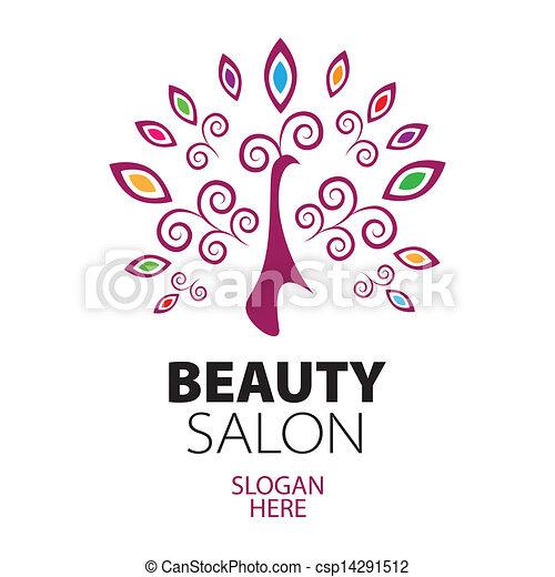 Logo de pavo real para el salón de belleza - csp14291512