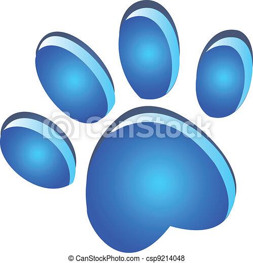 Paw footprint blue - csp9214048