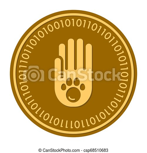 Paw Footprints golden digital coin icon. Vector style. gold yellow flat coin cryptocurrency symbol. solated on white. eps 10 - csp68510683
