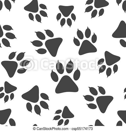 21e0de475169 Paw Print Icon Seamless Pattern Background. Business Flat Vector  Illustration. Dog, Cat, Bear Paw