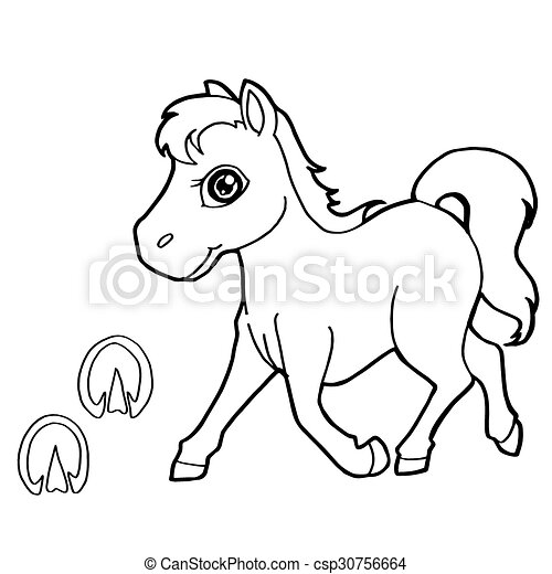 Image Of Paw Print With Horse Coloring Pages Vector. CanStock
