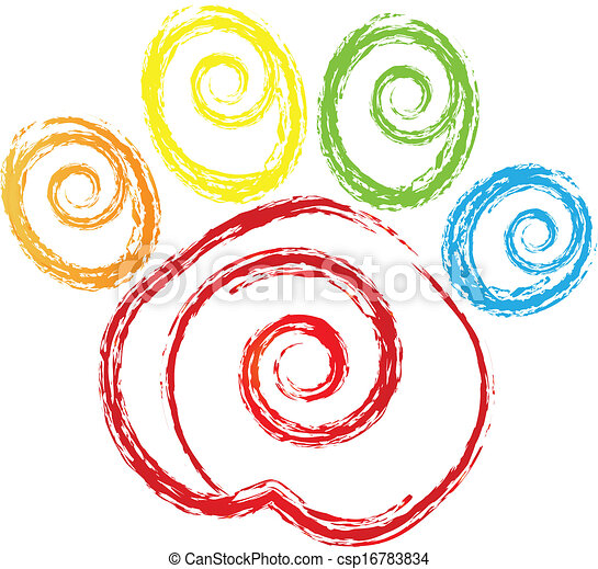 Paw print with swirly heart logo - csp16783834