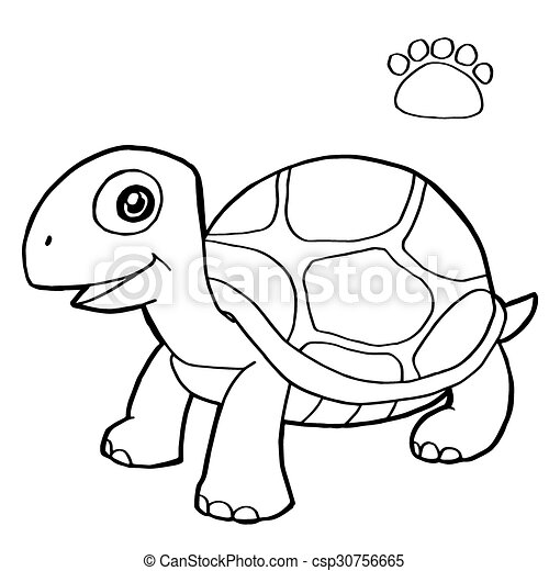 Image of paw print with turtle coloring page vector clip art vector