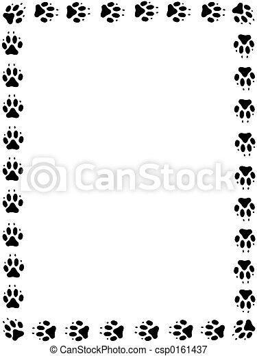 Pawprint, marco, perro. Pawprints, marco, negro.