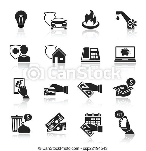 Pay bill icons black set - csp22194543