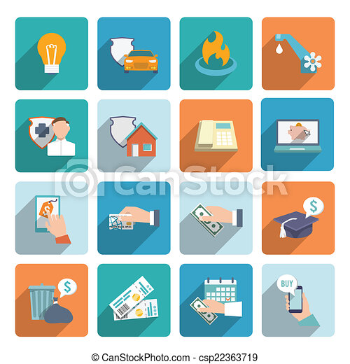 Pay bill icons flat set - csp22363719