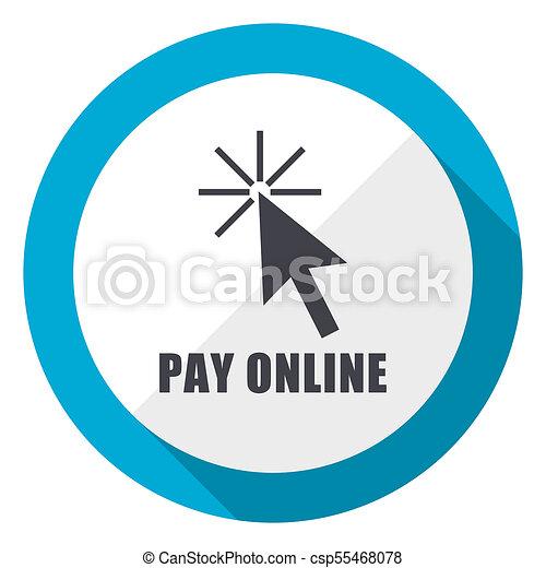 Pay online blue flat design web icon - csp55468078