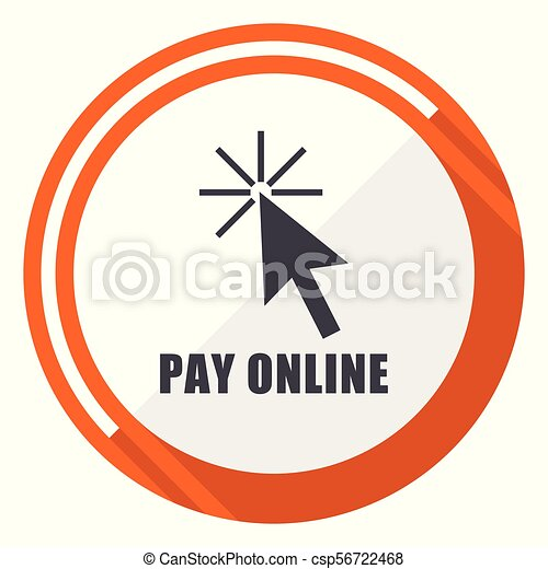 Pay online flat design orange round vector icon in eps 10 - csp56722468
