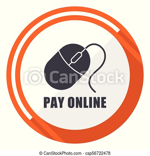 Pay online flat design orange round vector icon in eps 10 - csp56722478