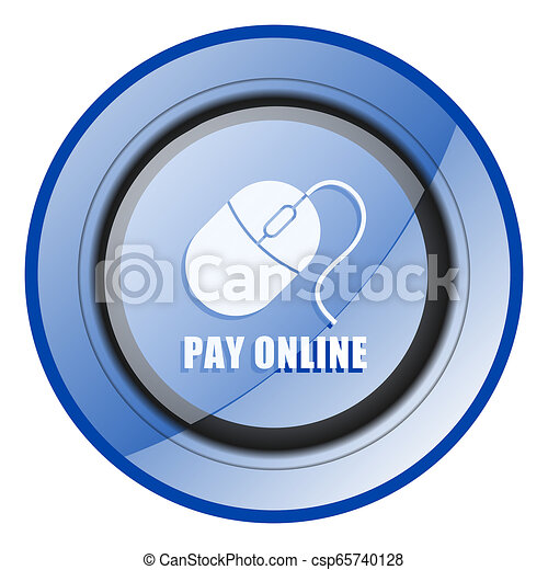 Pay online round blue glossy web design icon isolated on white background - csp65740128