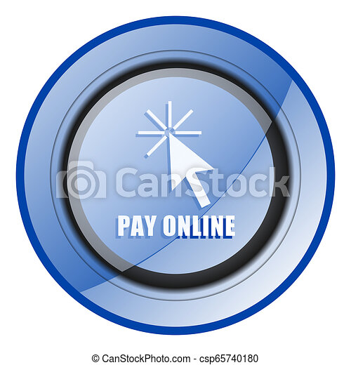 Pay online round blue glossy web design icon isolated on white background - csp65740180