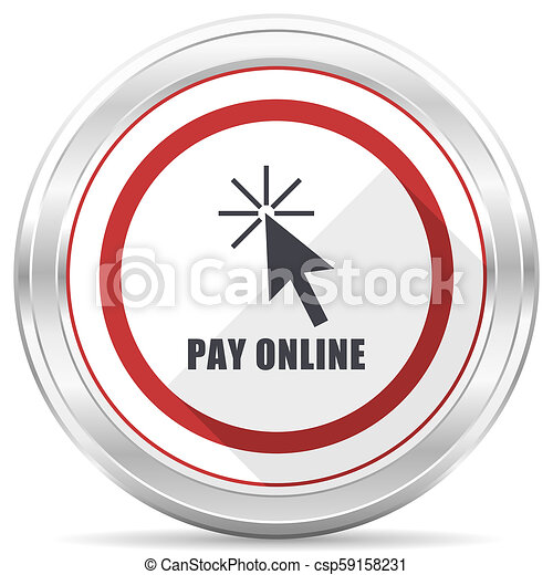 Pay online silver metallic chrome border round web icon on white background - csp59158231