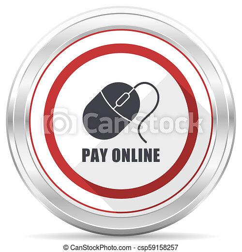 Pay online silver metallic chrome border round web icon on white background - csp59158257