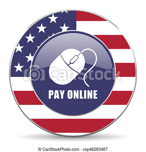 Pay online usa design web american round internet icon with shadow on white background. - csp46283487