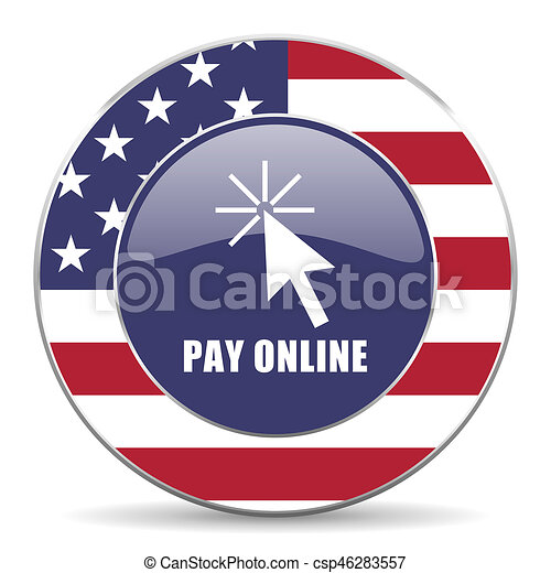 Pay online usa design web american round internet icon with shadow on white background. - csp46283557