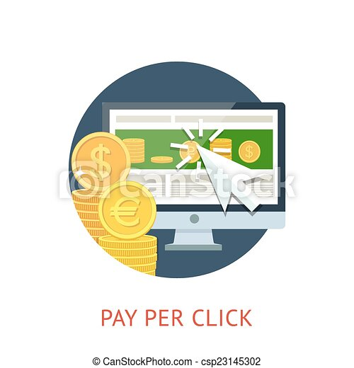 Pay per click icon with pc and notebook - csp23145302