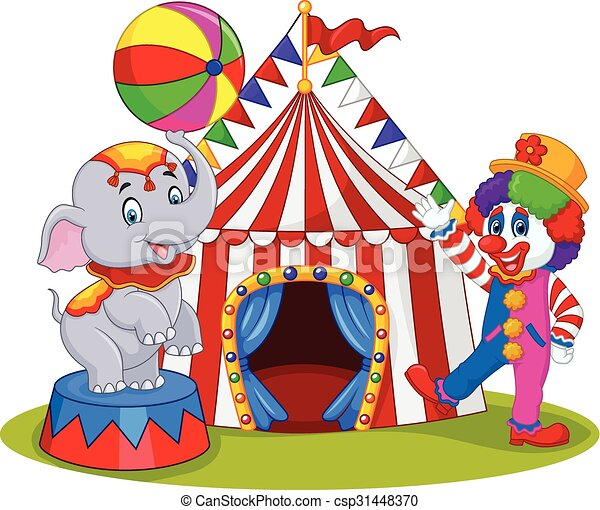 Elefante de circo y payaso - csp31448370
