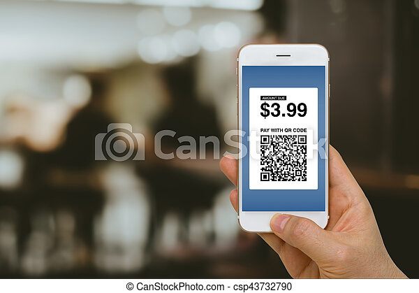 Paying for Goods and Services by Smartphone Using E-Wallet App and E-Money, Fintech Concept - csp43732790