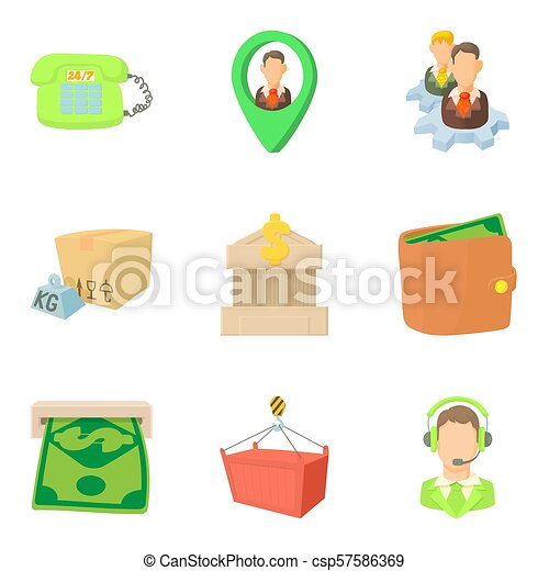 Payout icons set, cartoon style - csp57586369