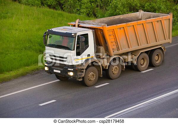 pays, camion, va, décharge, autoroute - csp28179458