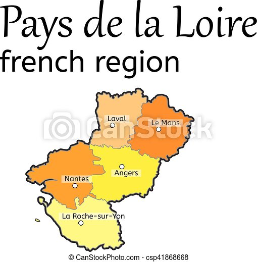 Pays De La Loire French Region Map On White