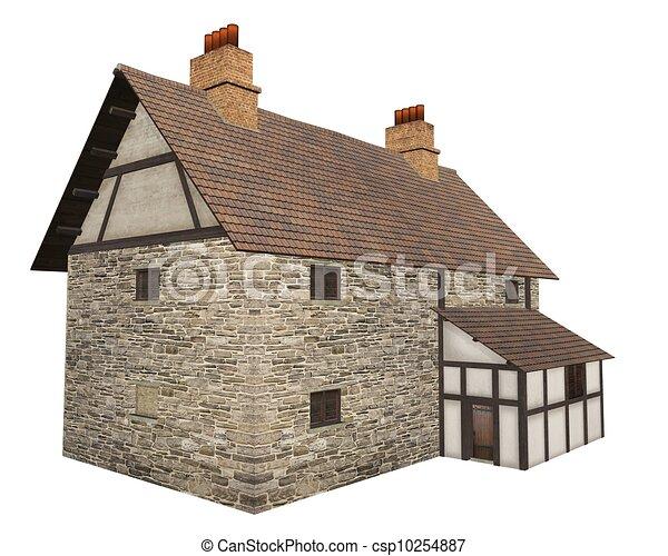 pays moyen ge ferme pierre rendu digitalement moyen ge demi timbered pays isol. Black Bedroom Furniture Sets. Home Design Ideas