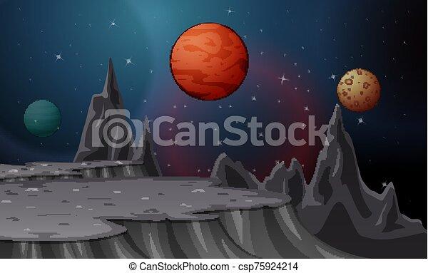 paysage, étoilé, lunes, ciel, dessin animé, planètes - csp75924214