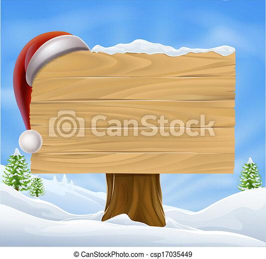 paysage, chapeau, neige, santa, noël - csp17035449