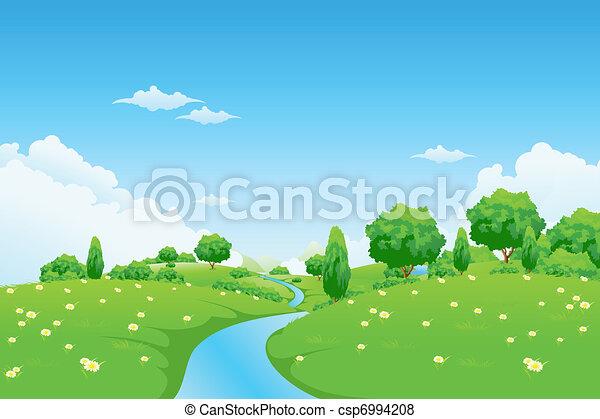 paysage, fleurs, rivière verte, arbres - csp6994208