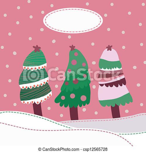 paysage, fond, neige, arbres, noël - csp12565728