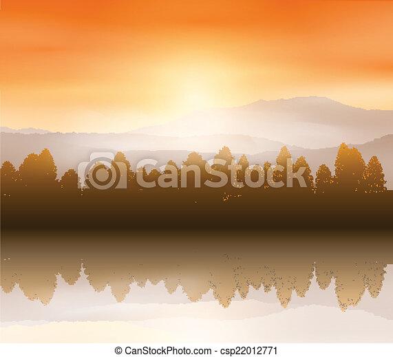 paysage, forêt, fond - csp22012771