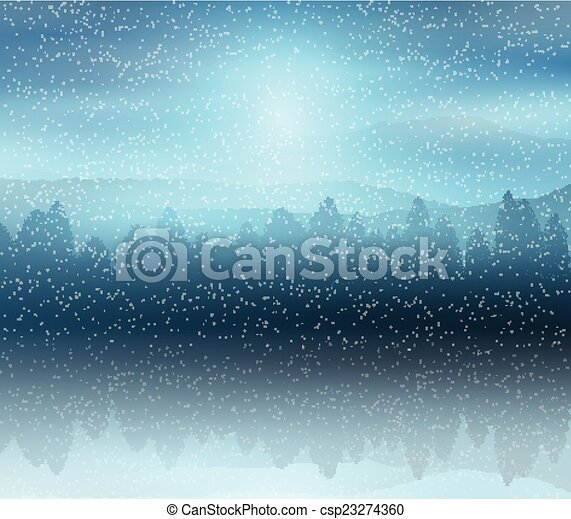 paysage, hiver, fond, forêt - csp23274360