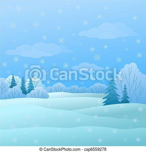 paysage, hiver, forêt - csp6559278