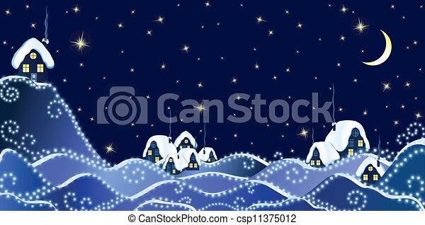 Paysage hiver no l no l nuit paysage hiver village - Paysage de noel dessin ...