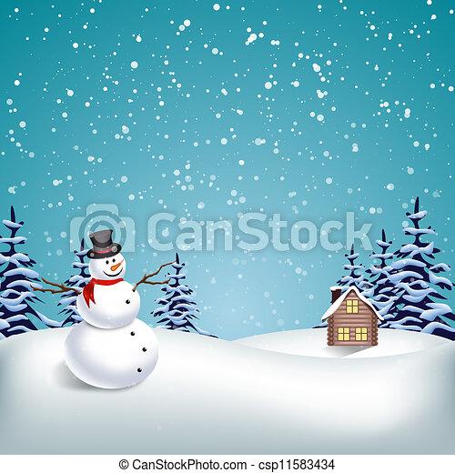 paysage hiver, noël - csp11583434