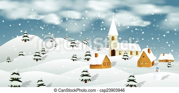 paysage hiver - csp23903946
