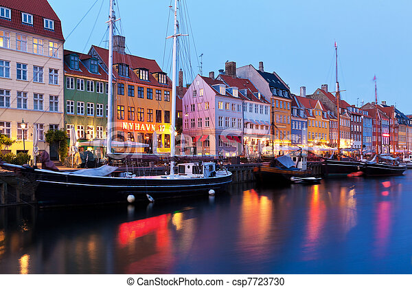 paysage, nyhavn, soir, danemark, copenhague - csp7723730