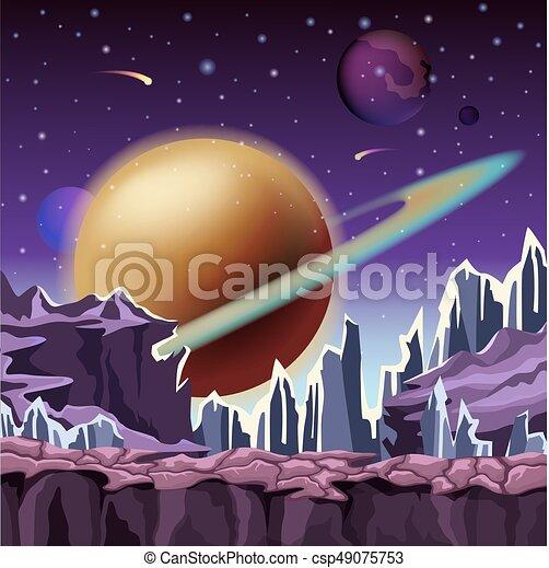 Paysage Planète Dessin Animé Glace Rochers