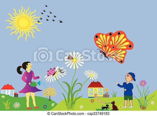 paysage, printemps, temps été - csp33749183