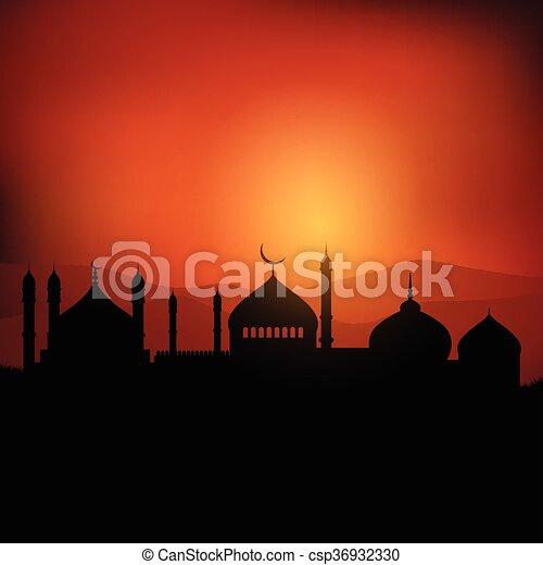paysage, ramadan, fond - csp36932330