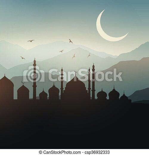 paysage, ramadan, fond - csp36932333