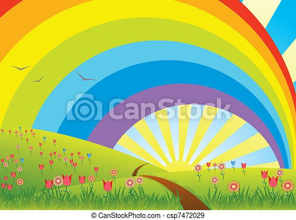 Coloriage Paysage Arc En Ciel.Paysage Rural Arc En Ciel Rural Vecteur Paysage Arc En Ciel